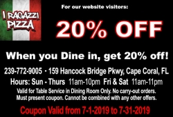 20% Off Dine-In Only. Valid July 2019